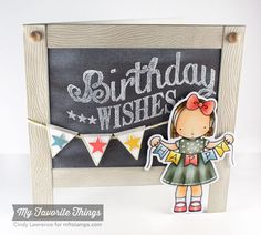 Happy Banner stamp set and Die-namics, Birthday Chalkboard Greetings, Blueprints `7 Die-namics - Cindy Lawrence #mftstamps