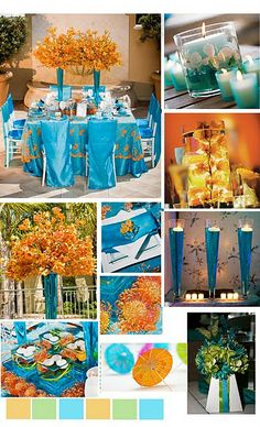 I think I really like the Orange and blue together for a late spring or early autumn wedding I really like these together and have been searching for reception decorations with these colors!