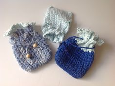 Crochet drawstring Pouch, all cotton by Mywaycrochet on Etsy