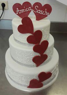 3-stöckige Hochzeitstorte mit Royal Icing Verzierung/Eiweißspritzglasur