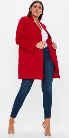 fc7eedf56ac Missguided - Plus Size Red Inverted Collar Coat