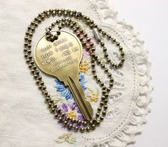 Vintage New Orleans Brass Key on Ball Chain Handmade Necklace PO 52185