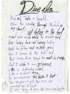 Misadventures_ Handwritten lyrics from Vic Fuentes Track 1. Dive In
