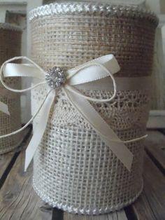 Vasos de serapilheira 2 lata upcycled lata recipientes para por BowTweetBabies