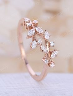 Vintage moonstone woman rose gold Diamond Cluster ring Unique engagement ring leaf wedding women Bridal Promise Anniversary Gift for her - Fine Jewelry Ideas Vintage Diamond Wedding Bands, Art Deco Wedding Rings, Wedding Rings Rose Gold, Rose Gold Rings, Wedding Ring Bands, Diamond Cluster Engagement Ring, Gold Engagement Rings, Cluster Ring, Zierlicher Ring