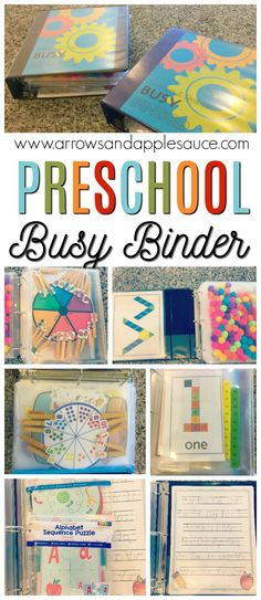 There\'s non-stop educational fun packed into these preschool busy binders. Tons of activities neatly organized and easily accessible in each busy binder. #preschool #homeschoolpreschool #kidsactivities #educationalactivities #busybinder #alphabet #preschoolmath #colors #shapes