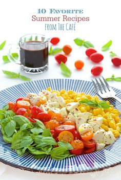 Caprese Salad with Fresh Corn - A classic Italian salad with tomatoes, fresh mozzarella and basil with a fun twist; Summer Recipes, New Recipes, Salad Recipes, Cooking Recipes, Favorite Recipes, Healthy Recipes, Delicious Recipes, Easy Recipes, Recipies