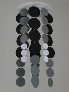 Muted Circle mobile / chandelier in black , gray, and white by WhimsyCreationsEF, $20.00