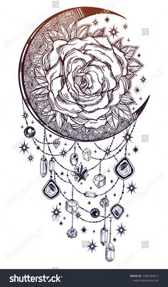 Vintage floral hand drawn moon rose composition with beads and crystal gemstones. Victorian Motif, tattoo flower design element decorated with jewels. Rose Tattoos, Flower Tattoos, Body Art Tattoos, Tatoos, Jewel Tattoo, Crystal Tattoo, Victorian Tattoo, Tatuagem Diy, Moon Drawing