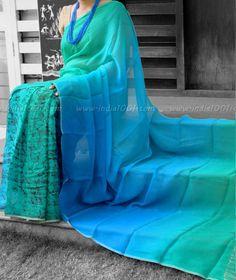 Designer Half & Half Pure Chiffon Saree