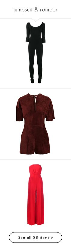 """""""jumpsuit & romper"""" by tinhinane ❤ liked on Polyvore featuring jumpsuits, black, valentino jumpsuit, jump suit, rompers, merlot, red rompers, red romper, playsuit romper and cut out romper"""