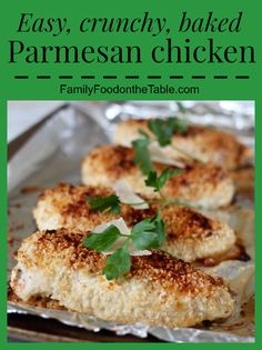 Parmesan chicken is an easy weeknight chicken dinner that's simple but scrumptious! | FamilyFoodontheTable.com