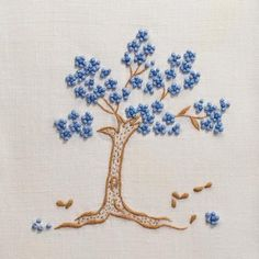 Jacaranda Tree Blue Hand Towel - Ivory Linen 3 In Stock Herb Embroidery, Cushion Embroidery, Hand Embroidery Projects, Embroidery Neck Designs, Hand Embroidery Flowers, Hand Embroidery Patterns, Embroidery Applique, Cross Stitch Embroidery, Blue Hand Towels