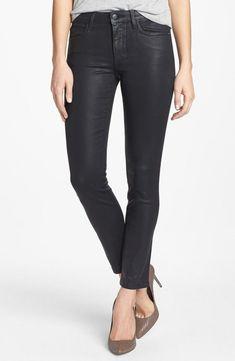JOE'S JEANS Zip Skinny Ankle Coated Denim Jeans Kinley Dark Blue 26 $189 #369 #JoesJeans #SlimSkinny