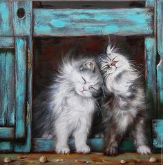Картина с парой пушистых котиков ручной работы. Мои пушистые друзья. Ермолаева…