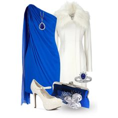 A fashion look from February 2013 featuring faux fur collar coats, white high heel shoes and royal blue handbag. Browse and shop related looks. 50 Fashion, Plus Size Fashion, Womens Fashion, Dress Up Closet, Party Dresses For Women, Classy Women, I Dress, Cool Outfits, Blue Outfits