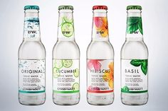 Halewood Wines & Spirits has launched a four-strong range of flavoured tonic waters in the UK, under the brand name Lamb & Watt. Water Branding, Water Packaging, Juice Packaging, Beverage Packaging, Bottle Packaging, Tonic Water, Gin And Tonic, Aloe Drink, Healthy Soda