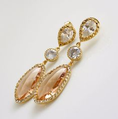 Wedding Jewelry Champagne Earrings Bridal by poetryjewelry on Etsy, $60.00