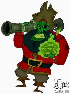 LeChuck and his flaming voodoo cannonball! <3 Monkey Island!