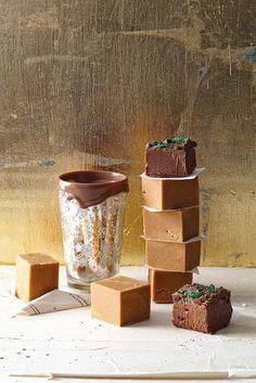 Creamy vanilla fudge & chocolate peppermint crisp squares