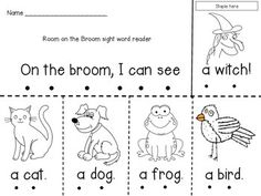 """This emergent reader goes along with the book """"Room on the Broom"""" by Julia Donaldson. The booklet uses the high-frequency sight words """"I,"""" """"can,"""" """"see,"""" """"a"""" and """"the."""" Students can color each picture and then track the words they read for fluency practice."""