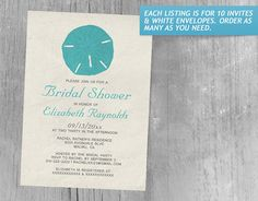 Rustic Burlap Sand Dollar Bridal Shower Invitations