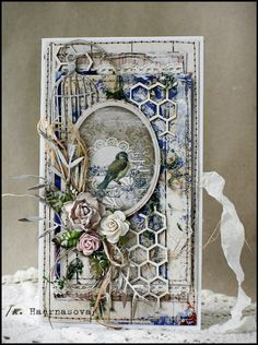 Anastasia Haernasova in Ufa, Republic of Bashkortostan, Russia Handmade Tags, Greeting Cards Handmade, Mixed Media Cards, Shabby Chic Cards, Bird Cards, Marianne Design, Card Making Inspiration, Pretty Cards, Vintage Cards