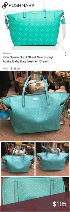 Kate Spade Oversized bag This is a very nice aqua and polka dots bag. It's meant to be a diaper bag but I've used this for traveling. I just liked the color. Has a few flaws, 1st I've gotten one of the straps restitched and on one of the bottom corners show wears and the bottom is a bit darker from resting down. Also the zipper little strap broke so I just added longer keychains. Super cute paid over $400 only used during the spring summer of last year perfect for traveling. The long tan…