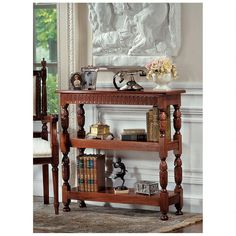 Display your favorite antiques and collectables with the gorgeous Design Toscano Jacobean-Style Triple Etagere . Epitomizing an adaptable English style. Recycled Furniture, Home Decor Furniture, Living Room Furniture, Plywood Shelves, Wooden Shelves, Jacobean, English Style, Classic Furniture, Mid Century Furniture