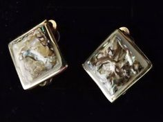 Vintage 80s abalone shell earrings .. clip on silver tone jewelry Mexico Alpaca