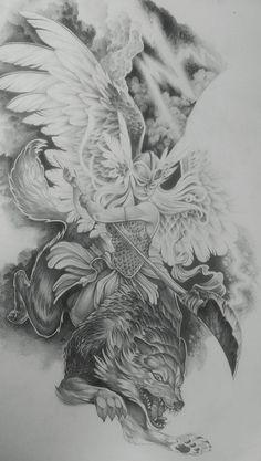 Valkyrie drawing for an upcoming sleeve. #obsidianbodystudio #halifax #canada #tattoo #valkyrie #wolf