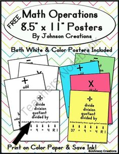 Math Operations Posters Free For Addition Subtraction Multiplication And Division