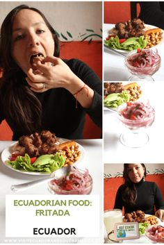 Ecuadorian food: fritada - Visit Ecuador and South America Pork Dishes, Tasty Dishes, Ecuador, Ripe Plantain, Braised Pork, Pickled Onions, Just Dream, Love Eat, How To Speak Spanish