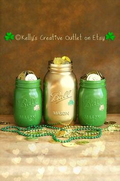 by KellysCreativeOutlet    Painted St. Patrick's Day Mason Jars. These jars are so adorable and will add a touch of whimsy to each and EVERY St. Patrick's day display. Each jar has been adorned with an adorable glittered shamrock. They also will add a bit of Irish to your office decor.