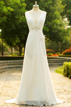 Charming V-Neck Long Chiffon Beach Wedding Dress SD07 – Simibridaldress