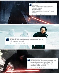 Emo Kylo Ren---OK these are kind of (very) funny but have you seen the last one? Uncle Lando. UNCLE LANDO.