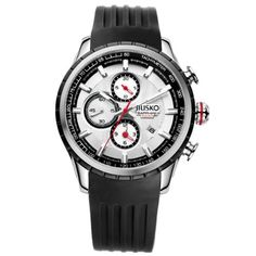 Jiusko Mens Analog Quartz Tachymeter Chronograph Sport Wrist Watch Sapphire Silver Dial Black Rubber Strap -- Continue to the product at the image link. Mens Outdoor Clothing, Authentic Watches, Affordable Watches, Best Watches For Men, Outdoor Outfit, Sport Casual, Black Rubber, Sport Watches, Luxury Watches