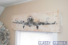 DIY Rustic Airplane Valance {Pottery Barn Knock Off).  So many possibilities!  I just love the idea of a rustic wood valance with white sheer curtains underneath.