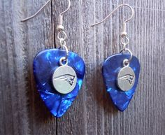 Blue MOP Guitar Picks with Silver Patriots Charms Guitar Pick Earrings by ItsYourPickToo on Etsy