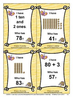 Place Value 'I Have Who Has' With 2 Digit Numbers from Games 4 Learning  - 4 printable I Have ... Who Has ... Place Value Games for 2 Digit Numbers. $