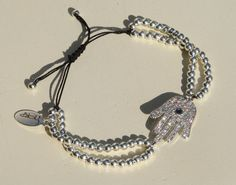 Silver Hamsa Hand Charm Bracelet with Sterling by NokoDesigns