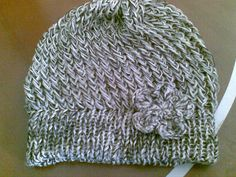 Loom knitted hat side stitch