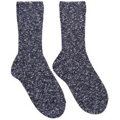 A.p.c. Navy and White Knit Socks featuring polyvore fashion clothing intimates hosiery socks knit socks ribbed socks a.p.c.