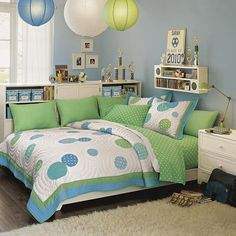 Lanterns - Aqua/Green dots.  Inspired youngest daughter's roon decor.  Pottery Barn Teen