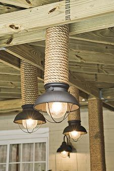 Patio lights  (cut top of PVC on angle for ends of trailer deck) Black hanging lanterns that coordinate with the dining-area fixture are suspended with #10 decorative chain. PVC pipe, wrapped with rope in the same manner as the posts, conceals the chains and helps support the lanterns.