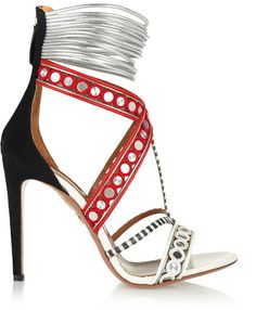 Aquazzura The Queen embellished leather, suede and elaphe sandals on shopstyle.com