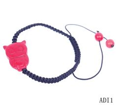 $1.99  Red Animal Stone Round Ball Beads Charm Bracelet Bangle Nylon Cords