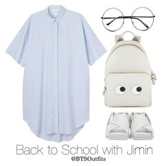 """Back to School with Jimin"" by btsoutfits ❤ liked on Polyvore featuring Monki, Acne Studios, Anya Hindmarch and Retrò"