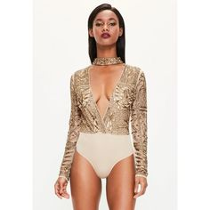 Missguided Peace + Love  Choker Neck Embellished Bodysuit ($162) ❤ liked on Polyvore featuring tops, bronze, sequin bodysuit, sequin body suit, beaded sequin tops, embellished bodysuit and embellished tops