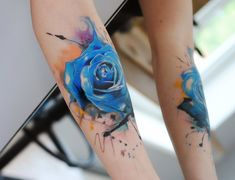 Blue Watercolor Rose Forearm Tattoos photo - 1